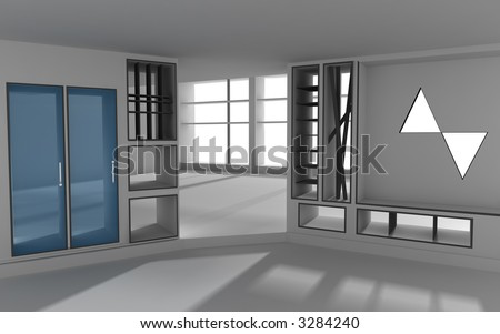 3d rendered modern interior - stock photo