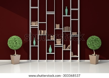 3d rendered modern interior composition with simple bookshelf. - stock photo
