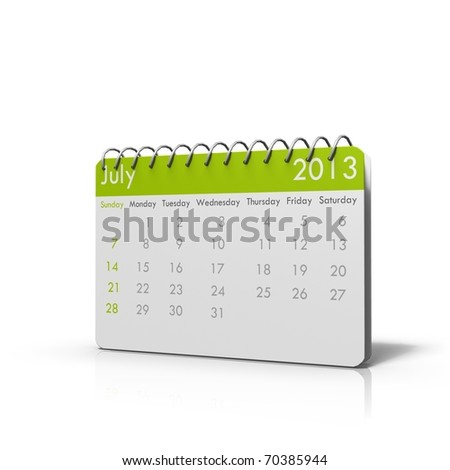 3d rendered Monthly calender of 2013 with spiral on top and rounded corners - stock photo