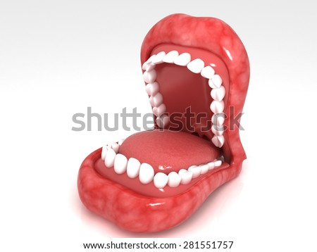 3d rendered  mouth  isolated on a white  background - stock photo