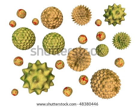 3d rendered of pollen particles - stock photo