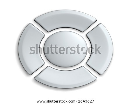 3D rendered ortho view on the control buttons with blank surfaces - stock photo