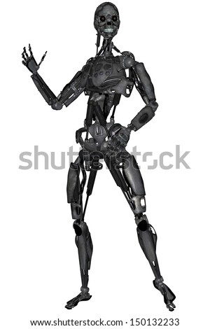 3D rendered scifi cyborg on white background isolated - stock photo