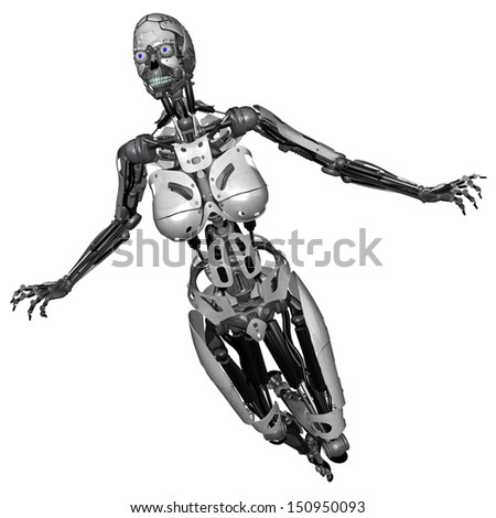 3D rendered scifi cyborg woman on white background isolated - stock photo