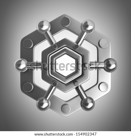 3D rendered silver glossy molecules structure. high resolution - stock photo