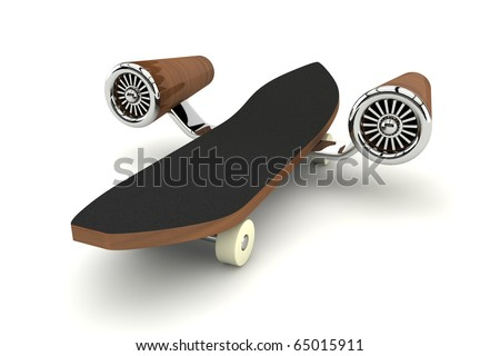 3d rendered skateboard with turbine - stock photo