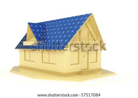 3d rendered solar panel house isolated on white background - stock photo