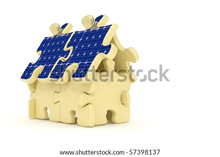 3d rendered solar panel house made from puzzles - stock photo