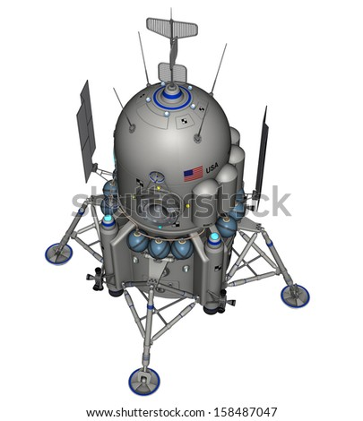 3D rendered space ship on white background isolated - stock photo