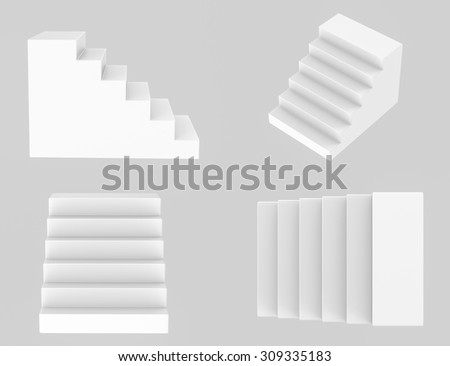 3d rendered stairs  - stock photo