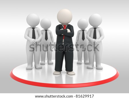 3d rendered successful business team and their leader posing - stock photo