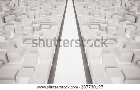 3d rendered, the road straight ahead between city buildings - stock photo
