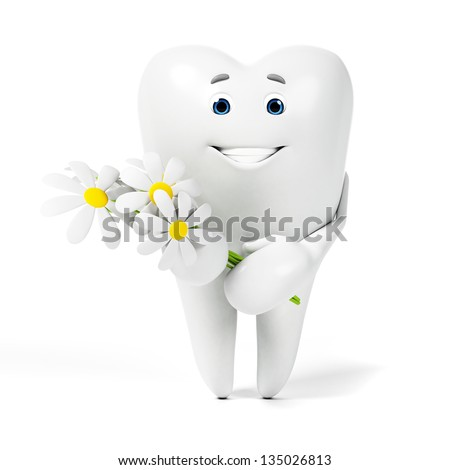 3d rendered toon character - funny tooth - stock photo