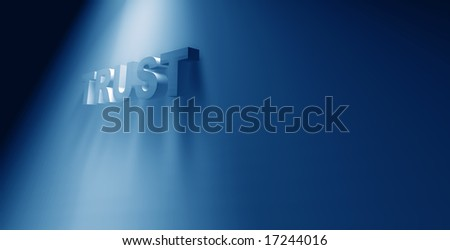 3D rendered TRUST text - stock photo