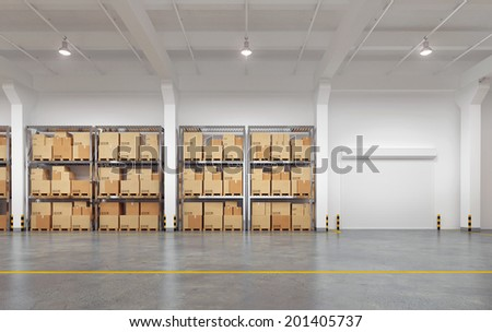 3d rendered warehouse with many racks and boxes - stock photo