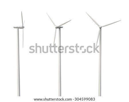 3d rendered wind turbines isolated on white - stock photo