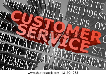 3D rendered word cloud of customer service concept - stock photo