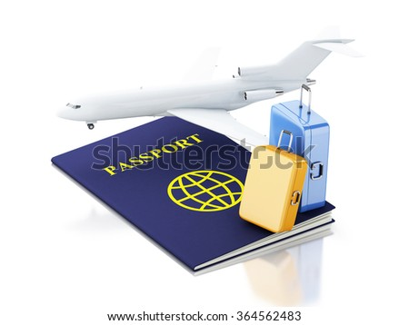 3d renderer illustration. Airplane, passport and travel suitcases. Airline travel concept. Isolated white background - stock photo
