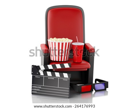 3d renderer illustration. Cinema clapper board, popcorn and drink. Isolated white background - stock photo