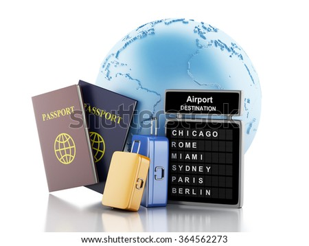 3d renderer illustration. Earth, Airport board, passport and travel suitcases. Travel concept. Isolated white background - stock photo