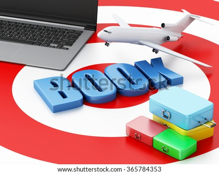 3d renderer illustration. Online booking concept. Laptop pc, airplane and travel suitcase on target. - stock photo