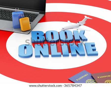 3d renderer illustration. Online booking concept. Laptop pc, airplane, passport and travel suitcase on target. - stock photo