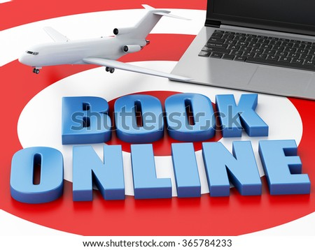 3d renderer illustration. Online booking concept. Laptop pc and airplane on target. - stock photo