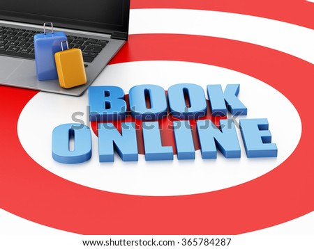 3d renderer illustration. Online booking concept. Laptop pc and travel suitcase on target. - stock photo