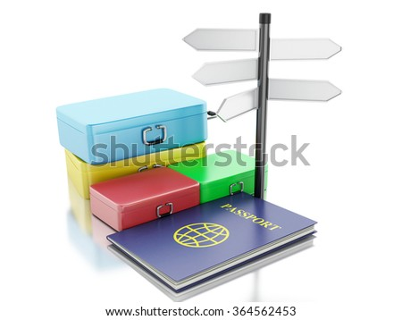 3d renderer illustration. Passport and travel suitcases. Travel and vacation Concept. Isolated white background - stock photo