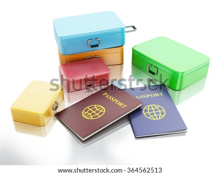3d renderer illustration. Passport and travel suitcases. Travel concept. Isolated white background - stock photo