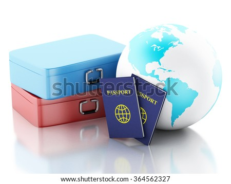 3d renderer illustration. Passport,  travel suitcases and Earth Globe. Travel and vacation Concept. Isolated white background - stock photo
