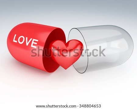3d renderer illustration. Pill with red heart. Valentine's day concept  - stock photo