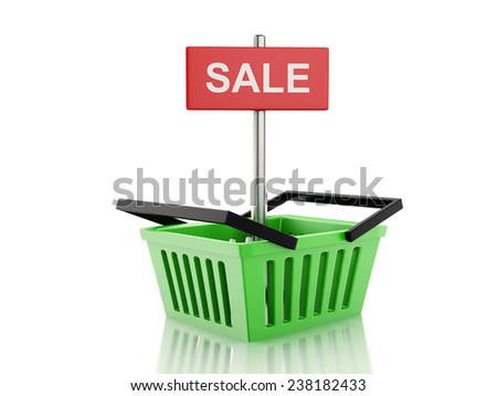 3d renderer illustration. shopping basket. sale concept on white background - stock photo