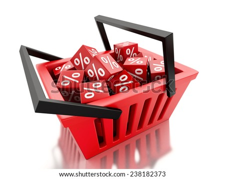 3d renderer illustration.  Shopping basket with discount cubes on white background - stock photo
