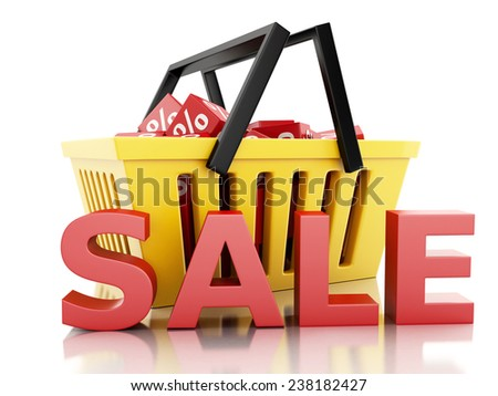 3d renderer illustration.  Shopping basket with discount cubes. sale concept on white background - stock photo