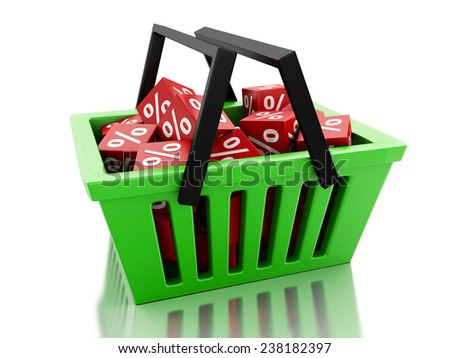 3d renderer illustration. Shopping basket with red cubes. discount  concept on white background - stock photo