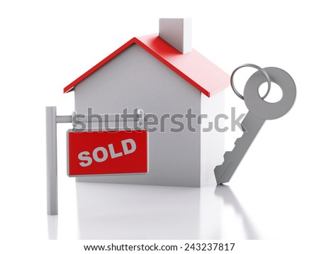 3d renderer illustration. Sold house sign on white background. Real estate concept - stock photo