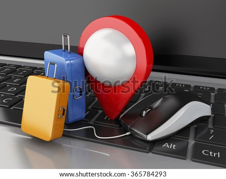3d renderer illustration. Travel suitcase, map pointer and computer mouse on computer keyboard. Online booking or travel concept. - stock photo