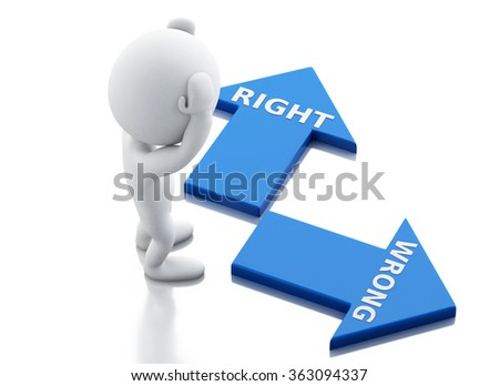 3d renderer illustration. White people and arrows. Labels wrong and right. choice concept. Isolated white background - stock photo