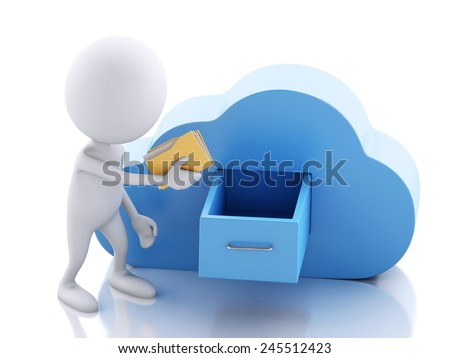 3d renderer illustration. White people with folders and cloud. Cloud computing concept on white background - stock photo