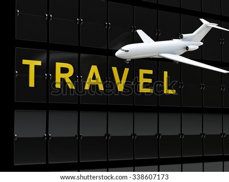 3d renderer image. Airport board and airplane. Travel or tourism concept. - stock photo