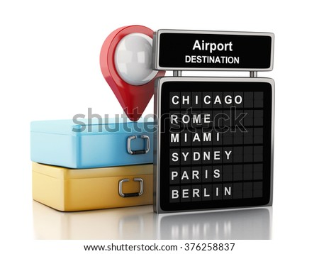 3d renderer image. Airport board, travel suitcases and airport pointer. Airline travel concept. Isolated white background - stock photo