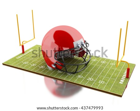 3d renderer image. American Football field with red helmet. Sport concept. Isolated white background. - stock photo