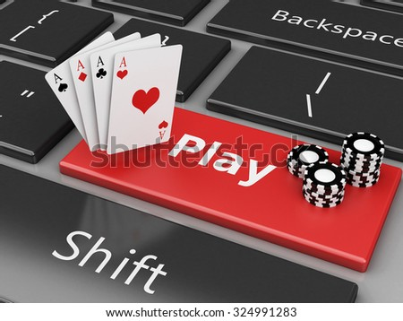 3d renderer image. Casino chips and cards on the computer keyboard. Casino online games concept. - stock photo