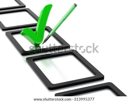 3d renderer image. Checklist with green check mark. Isolated white background - stock photo