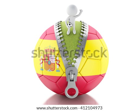 3d renderer image. 3d white people on top of soccer ball with flag of Spain. Sport concept. Isolated white background. - stock photo