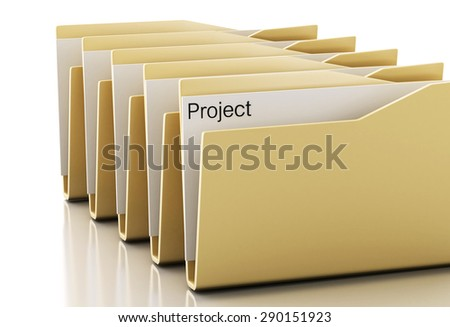3d renderer image. Examines computers folders. Search Documents Concept. - stock photo
