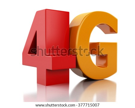 3d renderer image. 4G LTE wireless sign. Mobile telecommunication concept. Isolated white background - stock photo