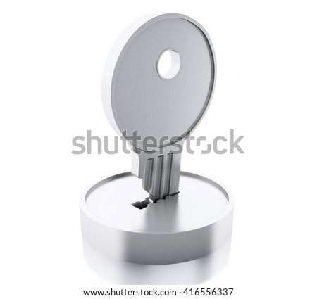 3d renderer image. Key in keyhole. Security concept. Isolated white background. - stock photo