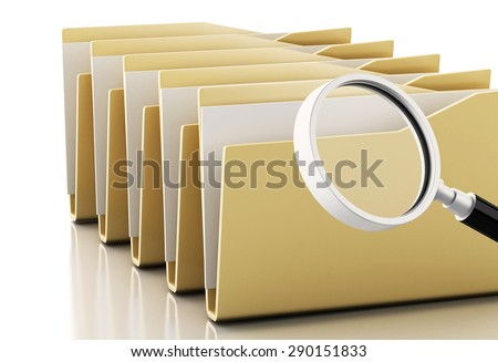 3d renderer image. Magnifying glass examines computers files. Isolated white background - stock photo